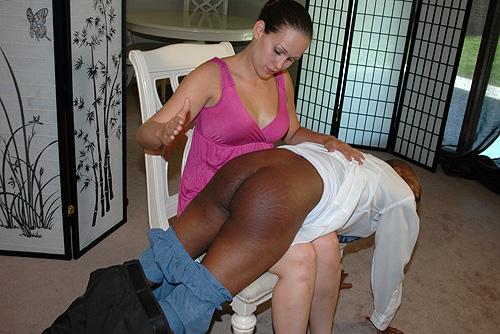 Interracial Femdom Spanking
